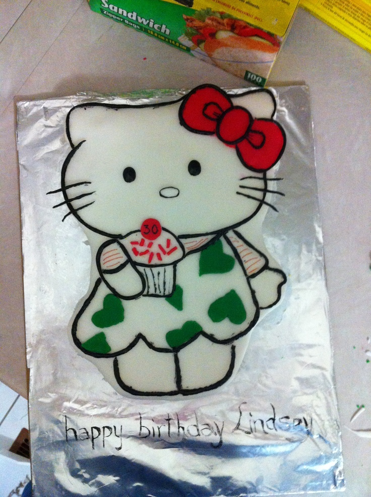 French vanilla & Fondant hello kitty cake