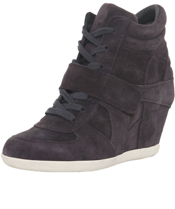 Ash Bowie Softy Suede Wedge Trainers US 10.5 Bistro. Leather suede uppers. Wedge heel. High top. Lace up fastening. Velcro strap to front.