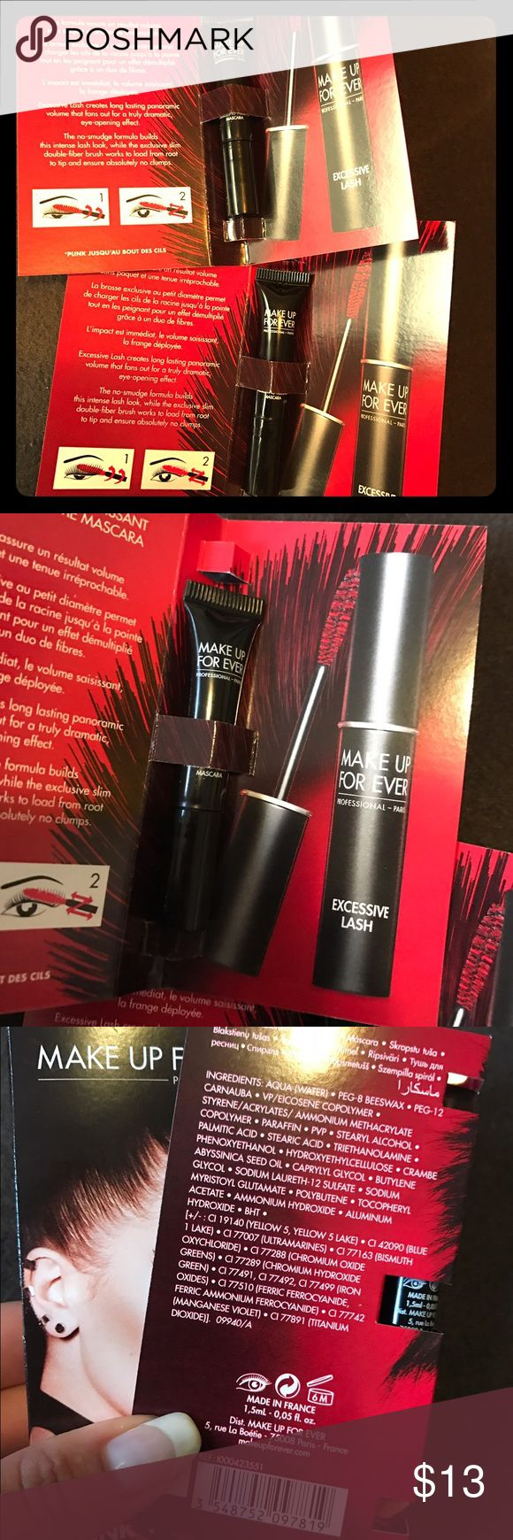 Make Up For Ever Excessive Lash Mascara Brand new set of two - Make Up For Ever Excessive Lash , Punk your lashes - black mascara (0.05 oz EACH) , comes with two. great for on the go. Fast shipping Makeup Forever Makeup Mascara