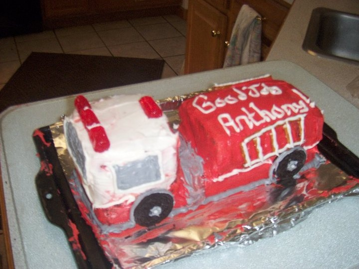 Anthony's fire truck cake for passing his firefighter exam!