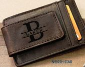 Mens Leather Money Clip, Money Clip Wallet, Groomsmen gifts, Groomsmen wallet, Personalized Money Clip, Custom Wallet, Brother of the Bride