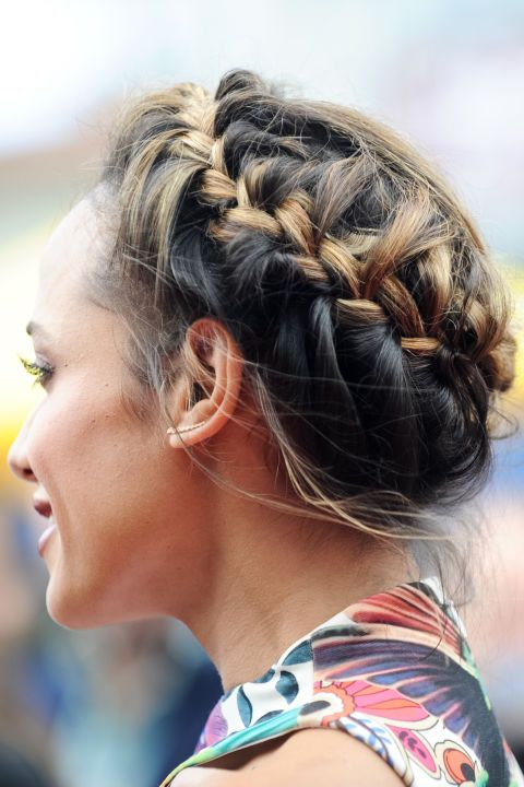 A wrap-around braid works equally well for long or short hair as an on-trend beauty look for your Christmas party.