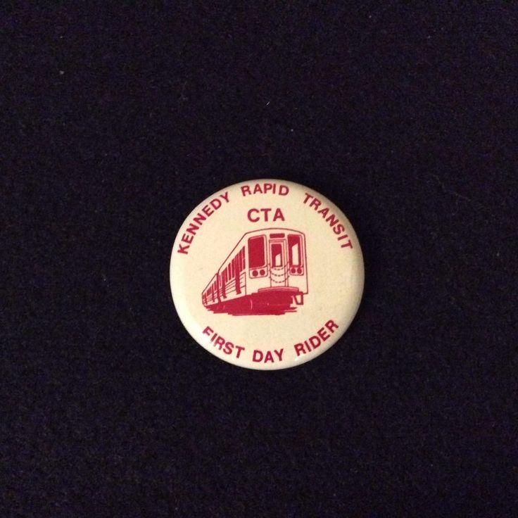 Kennedy Rapid Transit CTA First Day Rider Red White Button Chicago Illinois 1970  | eBay