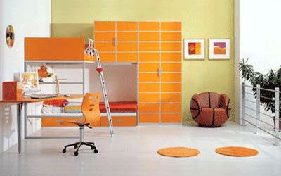 teenage bedroom furniture in orange color, light green wall paint