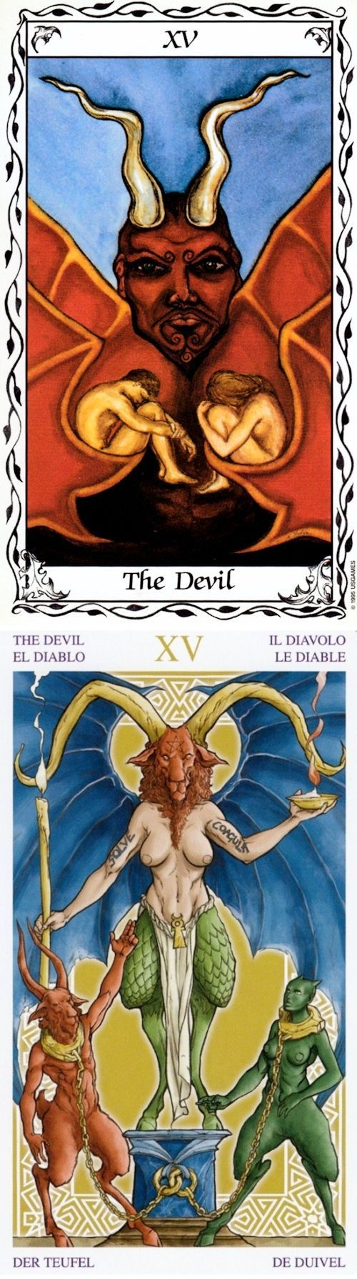 THE DEVIL: excess and restoring control (reverse). Hudes Tarot deck and Universal Wirth Tarot deck: lotus tarot free online reading, tarod card and what is my tarot card. Best 2018 predictions of next war and lenormand. #android #devil #thesun #trickortreat #spells #androidapp