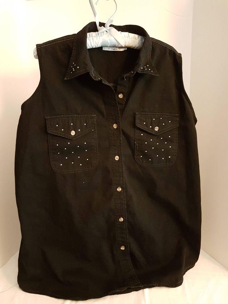 Vintage Women's Black Denim Hand Embellished w/ Swarovski Crystals BoHo Bohemian Sleeveless Shirt -Large by FabBoho on Etsy