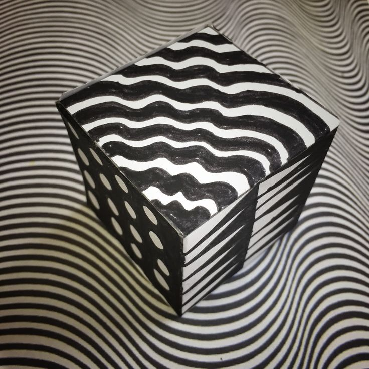 Bridget Riley Op Art cube year 4