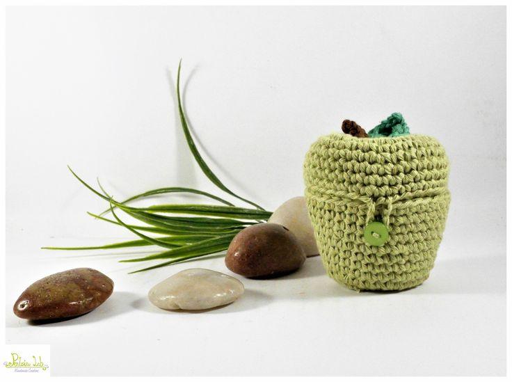 Mela cofanetto ad uncinetto color verde : Scatole, cofanetti di pentria-lab