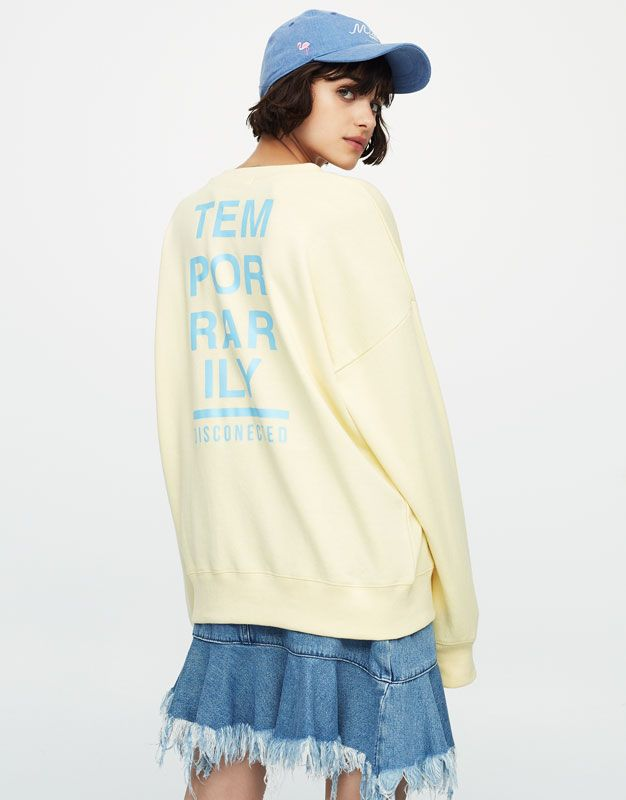 Sweatshirt with slogan on back - Sweatshirts & Hoodies - Clothing - Woman - PULL&BEAR United Kingdom