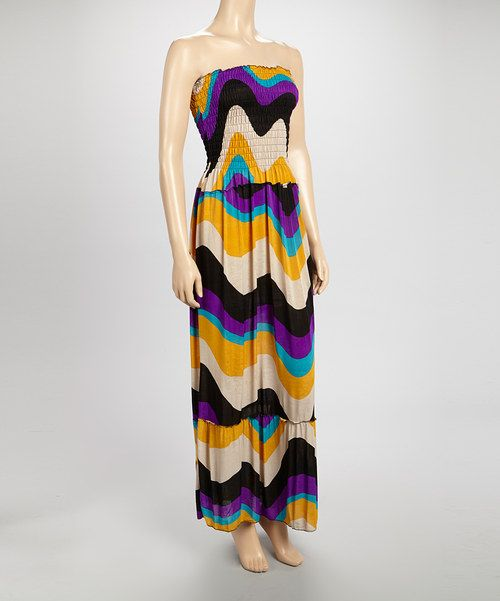 Take a look at the Purple & Gold Smock-Top Maxi Dress on #zulily today!
