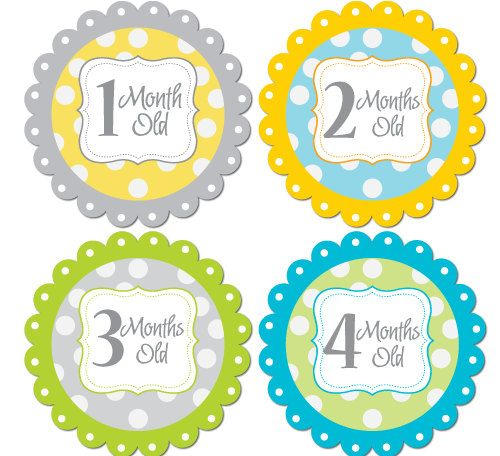Baby Month Stickers Monthly Bodysuit Stickers Monthly Baby Stickers Baby Shower Gift Photo Prop Baby Milestone Stickers. gray and yellow on Etsy, $8.75