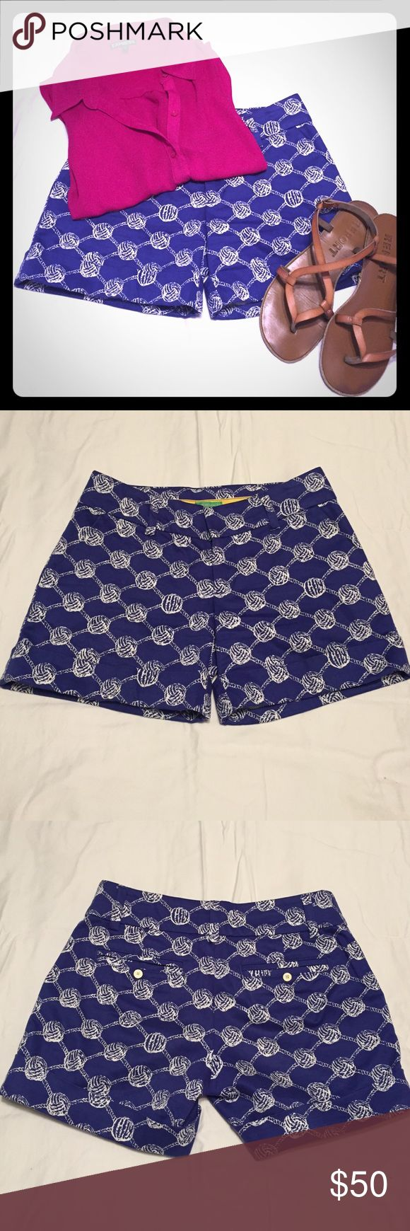 Lilly Pulitzer Mari Time shorts Perfect and timeless shorts! Cobalt blue shorts with white nautical knots is perfect for any summer event. They're super easy to dress up or down. Fantastic like new condition - no rips, tears or stains and no sign of use! Lilly Pulitzer Shorts