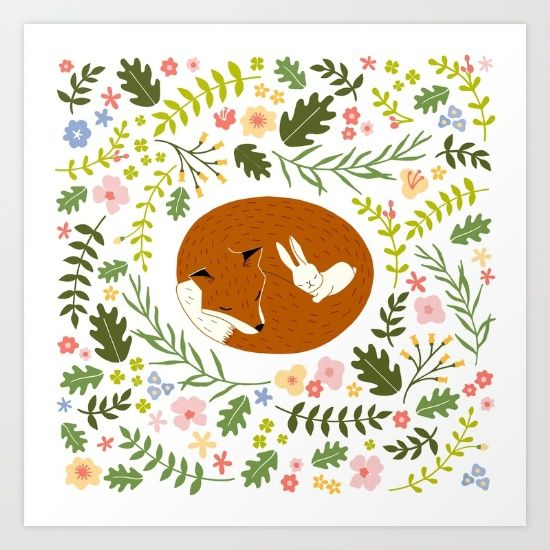 Collect your choice of gallery quality Giclée, or fine art prints custom trimmed by hand in a variety of sizes with a white border for framing. #society6 #fox #rabbit #bunny #cute #friendship #friend #sleep #love #miavaldez #mia