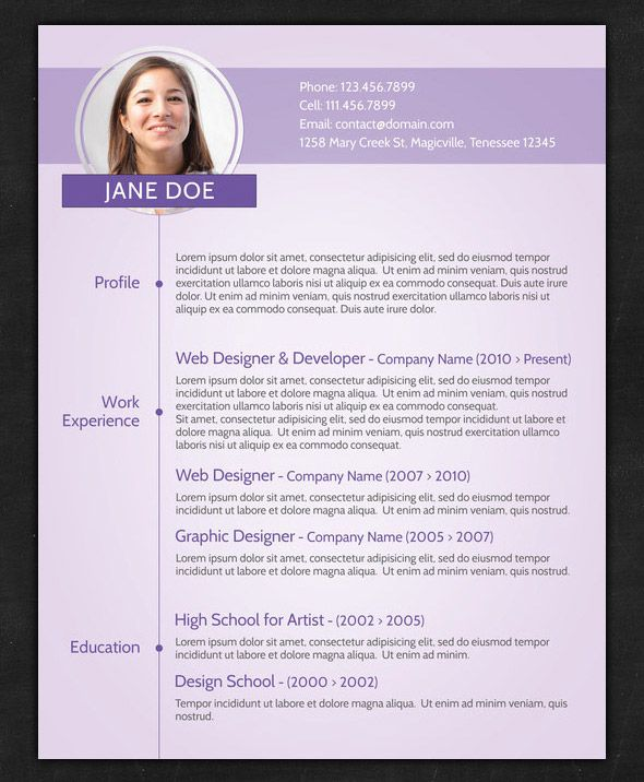 purple creative cv template by resumepro us letter layout resume template whats in the file 1 layered psd file print ready cmyk size us letter font used - Cv Form Format