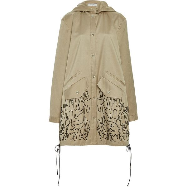Adeam     Oversize Embroidered Trench Coat (69,865 PHP) via Polyvore featuring outerwear, coats, tan, tan trench coat, trench coat, brown trench coat, tan coat and brown coat
