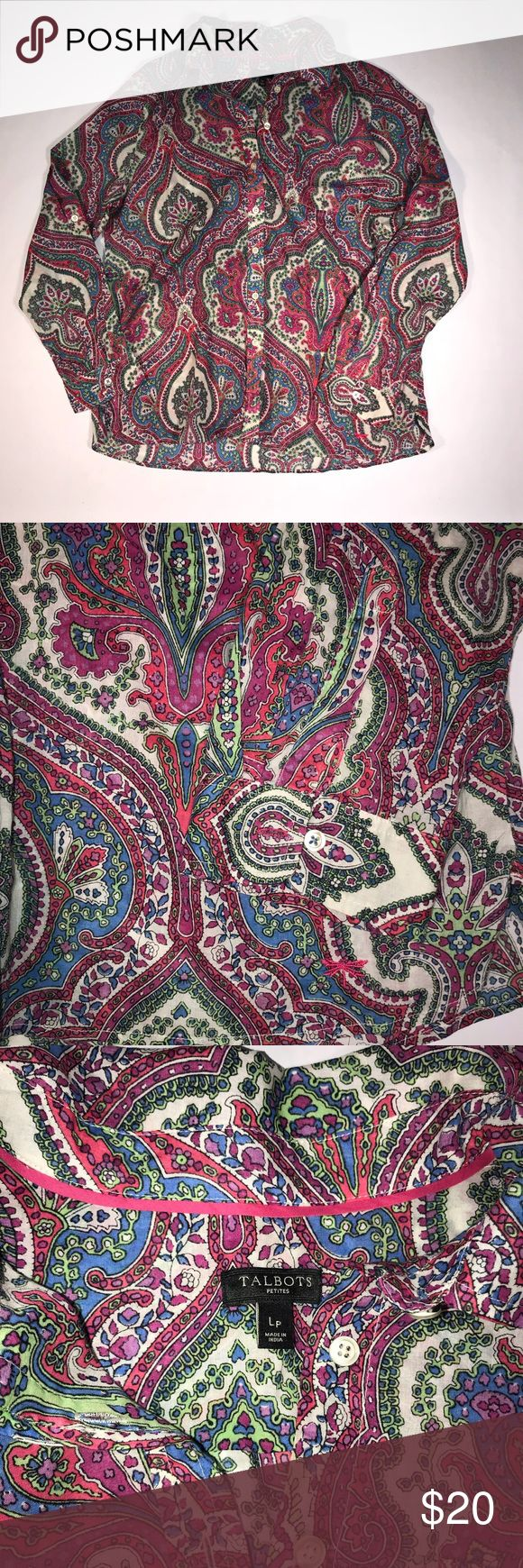 Talbots blouse (LP) Gorgeous color and patterned blouse by Talbots size LP. Excellent conditions. Talbots Tops Button Down Shirts