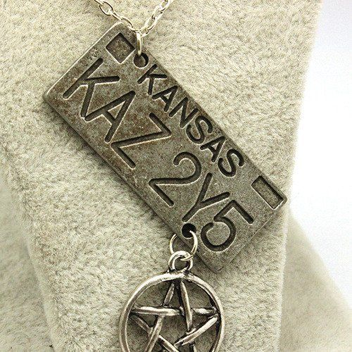 Inspired by the television show SUPERNATURAL! Dean Winchester's Baby, the infamous '67 Chevy Impala. This necklace features the license plate of the Impala. A pentagram charm is attached at the bottom