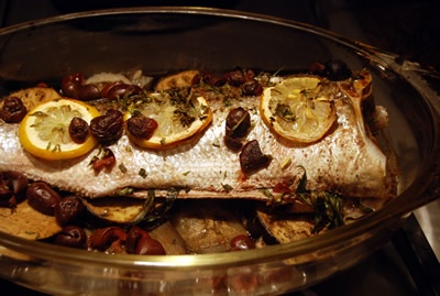Roasted Wild Stripped Bass Recipe can be found at http://www.reluctantgourmet.com/roasted-wild-striped-bass-recipe/