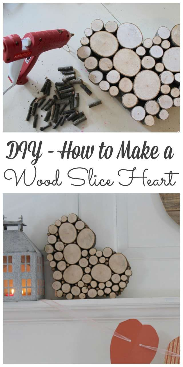 A wood slice heart to decorate your living room mantel with for Valentine's Day. Link for the How-to: http://lehmanlane.net/wood-slice-heart/