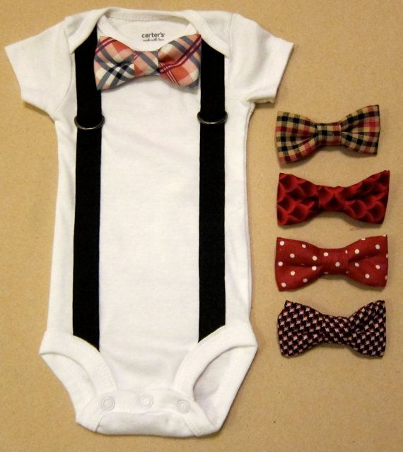 Baby Boy Outfit - Suspender Onesie with your choice of 1 removable bow tie