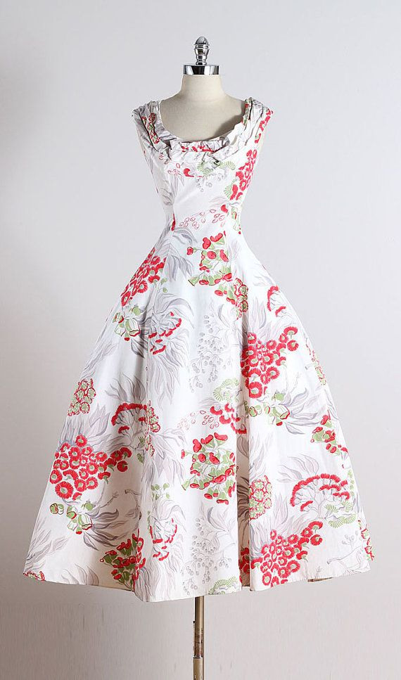 Ceil Chapman ➳ vintage 1950s dress * white rayon faille * red & silver floral print * gathered neckline * metal back zipper * by Ceil Chapman condition  