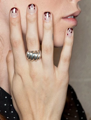 Dripping Blood Red or Black French Manicure on natural nails, Holiday, Free-Hand