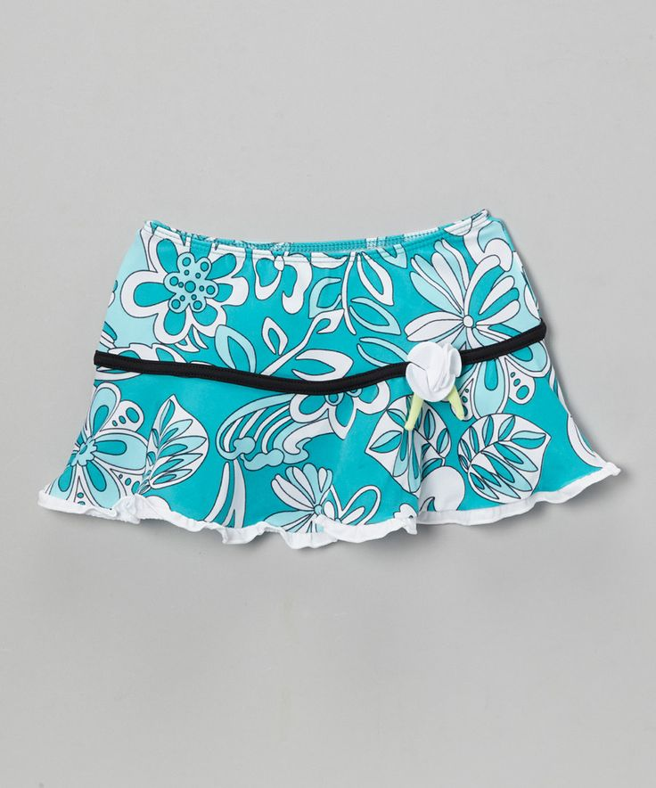 Look at this Turquoise & Black Surfing Frills Swim Skirt - Toddler & Girls on #zulily today!