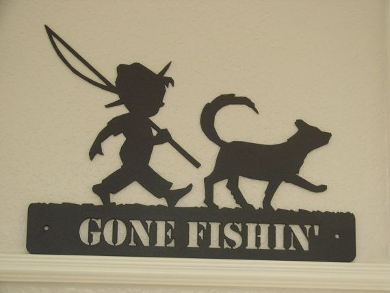 Boy And His Dog 16 Gauge Plasma Cut Gone Fishin Metal