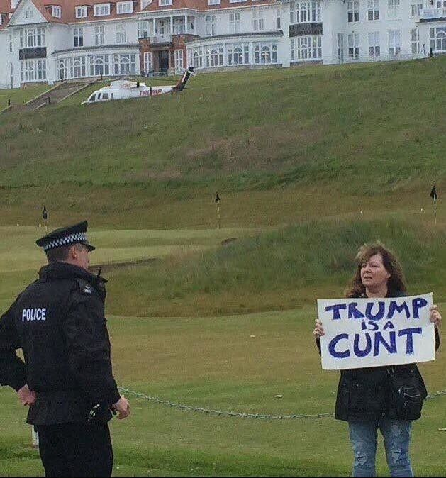 11 Of The Best Ways Trump Was Welcomed To Scotland This Weekend We really, really love him over here. | held by Scottish comedian Janey Godley.