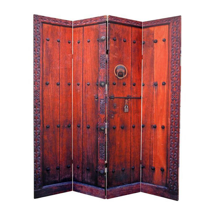 Oriental furniture doors 4 panel multi wood and fabric for Folding screen door