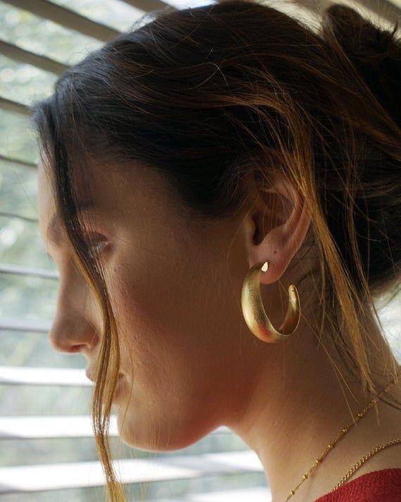 Gold Hoop Earrings Large hoops gold Chunky Hoops Thick Hoop Earrings Big Hoop Earrings Large Silver Hoops Simple Hoop Earrings