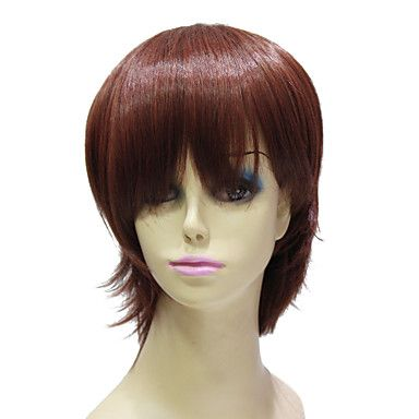 Capless High Quality Synthetic Janpanese Kanekalon Short Reddish Golden Brown Straight Hair Wig