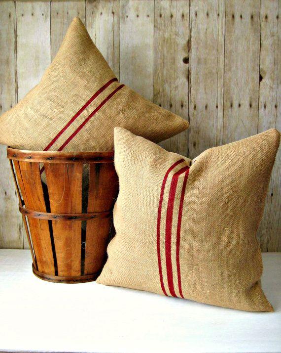 Burlap Grainsack Pillow Set / Burlap Pillow / Rustic Pillow / Cabin Decor /  Cottage Decor /Farmhouse Pillow / Choose Burlap And Stripe Color