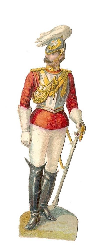 Soldat - - Uniforme Sabre Cuirasse  - - Chromo Decoupi  - Victorian Scrap