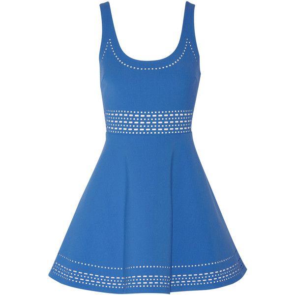 Elizabeth and James Kenton laser-cut jersey mini dress ($156) ❤ liked on Polyvore featuring dresses, vestidos, blue, blue fitted dress, fitted mini dress, fitted dresses, loose fitting dresses and short fitted dresses
