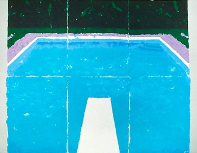 DAVID HOCKNEY / Paper Pools - Pool On a Cloudy Day, 1978 colored and pressed paper pulp 72x85 1/2 in.