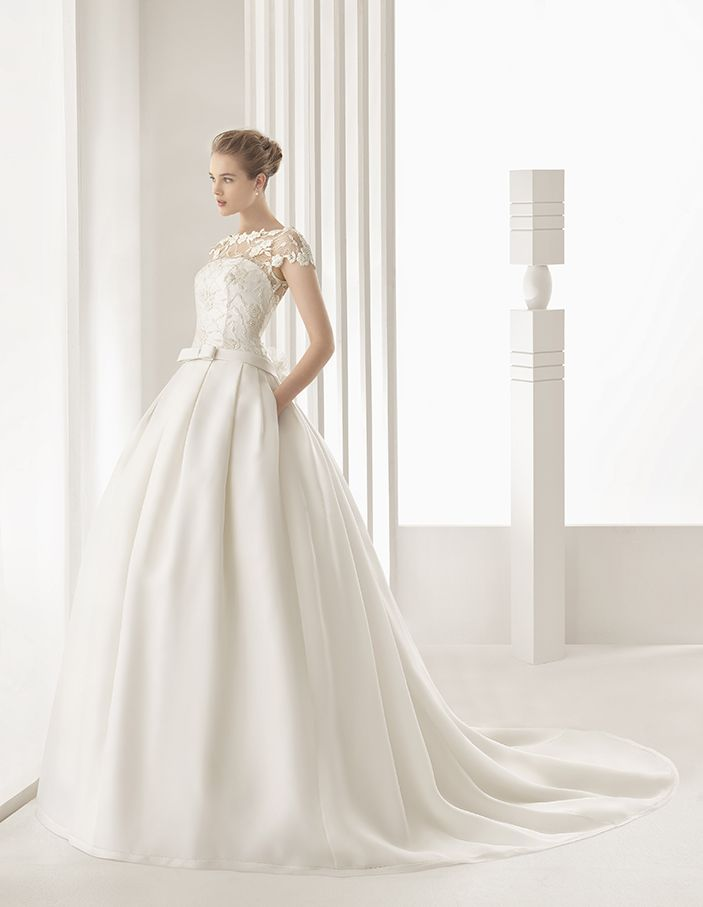 Dallas - Classic tailored dress with matt cotton guipure lace bodice, pleated embroidered silk organza skirt and dropped waist, in ivory.