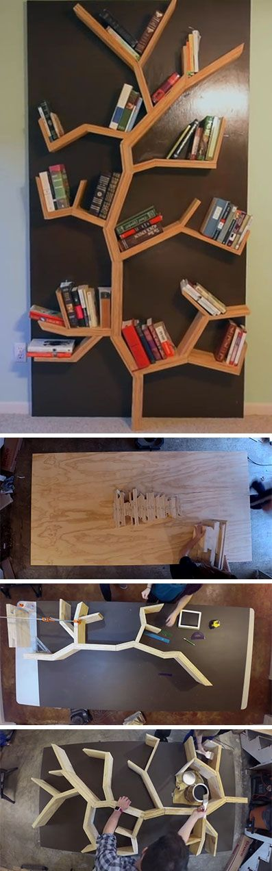 Make your very own DIY modern wood tree bookshelf that's just under 8 feet tall. There's step-by-step instructions as well as a video to show how it all goes together.