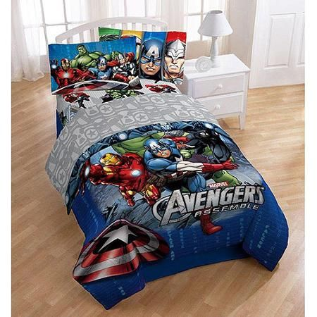Avengers comforter for Jace's bed in Ella's new room when he wants to sleep in there