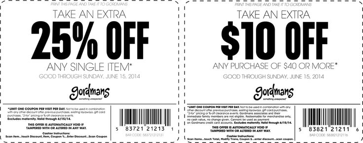 Pinned June 1st: 25% off & $10 off $40 at #Gordmans #coupon via The #Coupons App