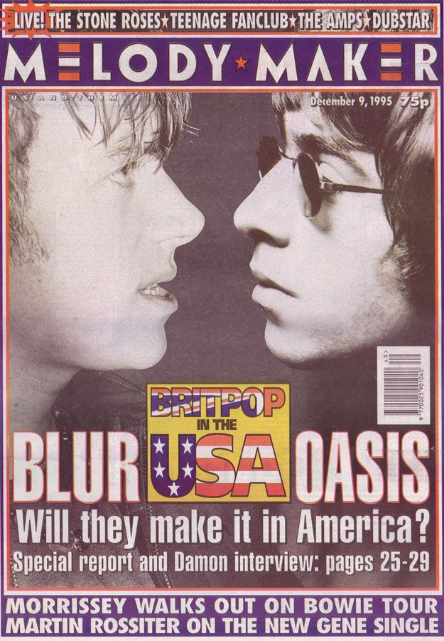 9 December 1995 issue of Melody Maker with Blur v. Oasis in the US on the cover