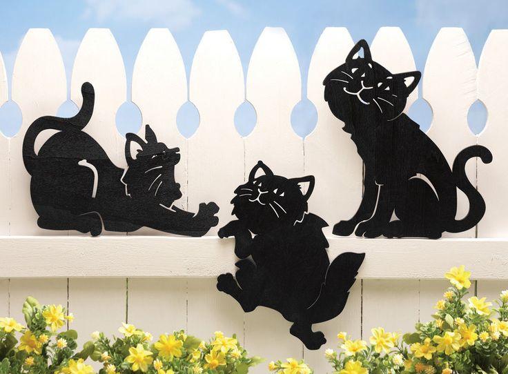 Комплект из 3 черный кот настенные вешалки открытый украшения забор подъезд палубы, окон дома