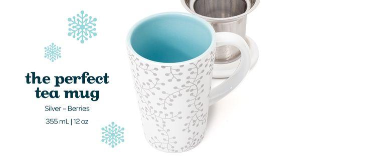 Silver Berries Perfect Mug - Tea Mug With Stainless Steel Infuser   DavidsTea