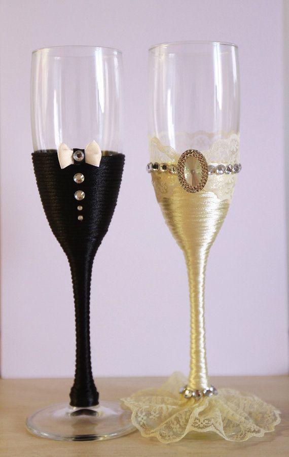 Wedding glasses Champagne Glasses Glasses Rustic by shopKristi
