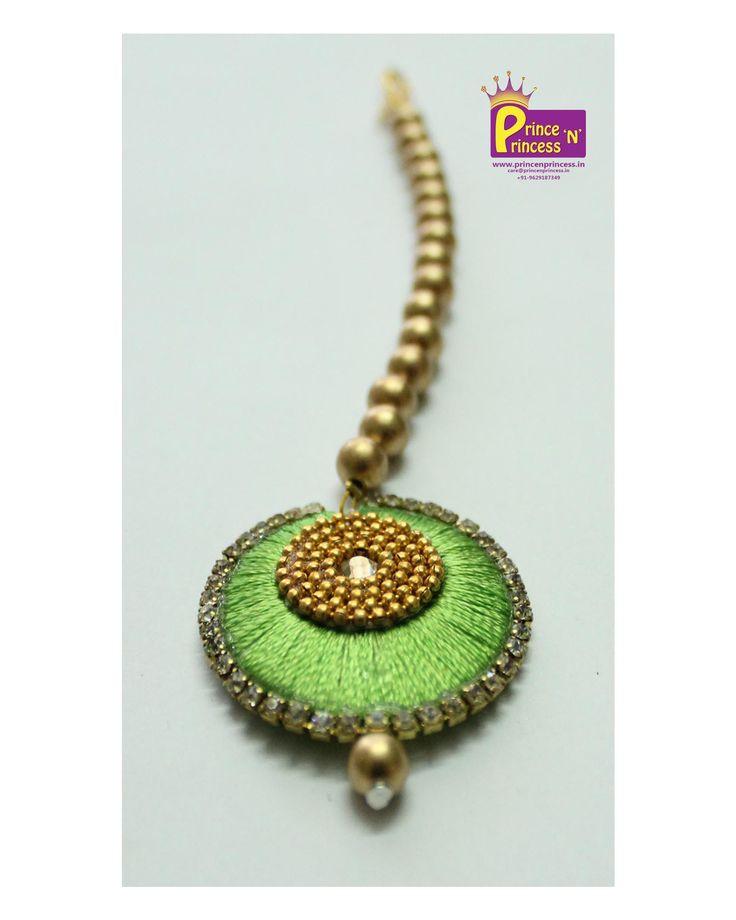 Buy matching kids Silk thread tikka for your grand pattu pavadai traditional wear #hair #tikka #silk #thread #princess #online #kids www.princenprincess.in