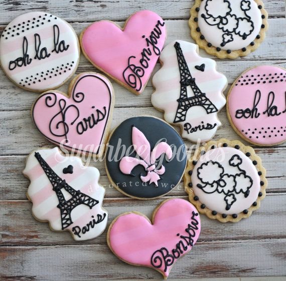 PLEASE ORDER 2 WEEKS IN ADVANCE TO ENSURE AVAILABILITY. If less than 2 weeks contact me prior to ordering. There is no better way to SWEETEN your next birthday party or event! These delicious Paris Themed CUSTOM sugar cookies are always made just for you. These buttery perfectly sweet sugar cookies taste delicious and are paired perfectly with our Almond/Vanilla Royal Icing. Your one of a kind cookies are made using only the freshest and finest ingredients. Your cookies will come…