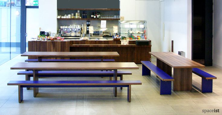 Walnut school canteen benches and table