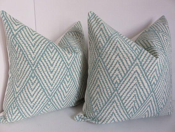 Aqua Pillow covers, Chevron Pillows, Cream Pillow covers, Zig zag Pillow Covers, Ikat Pillows