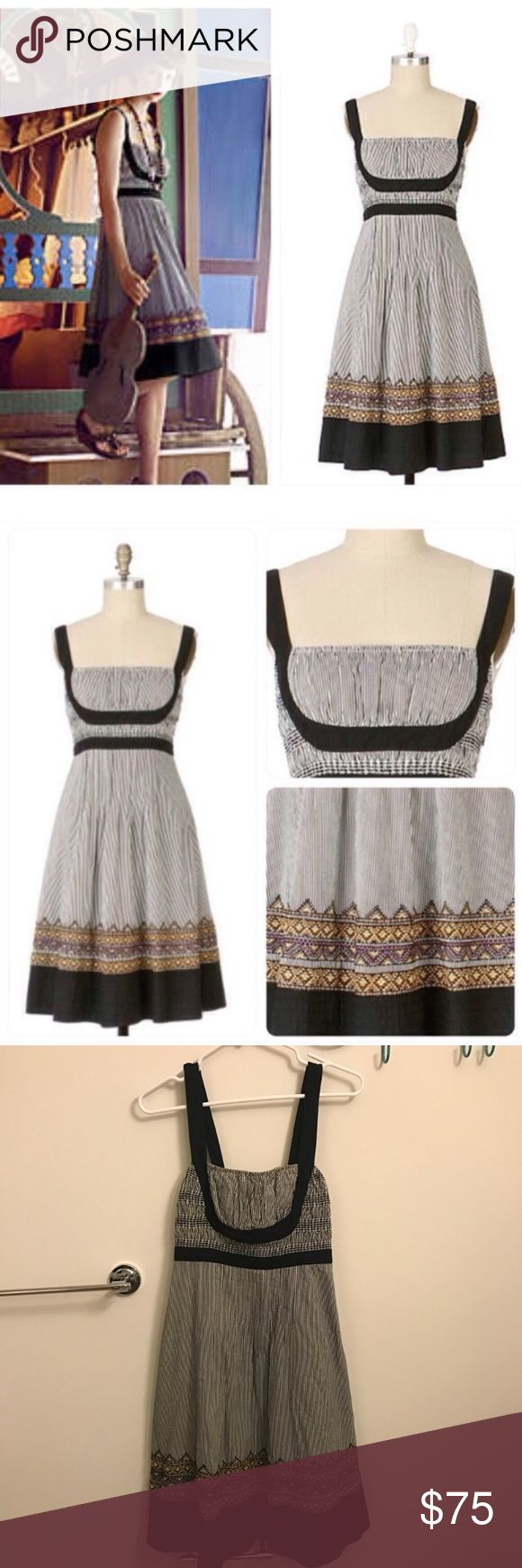 "Anthropologie, Lithe Fiddler's Song Dress Dress with lush skirt adorned with embroidered mountain peaks and a quilted hem. Thin stripes. A-line. Smocked bodice. Side zip. Cotton; cotton voile lining. Length 40"", Waist 14.5"", bust 15"" and stretches to 18"". Anthropologie Dresses"