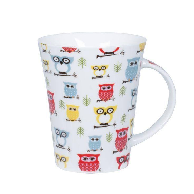"""Mug en porcelaine, motif """"chouette"""".  Contenance 35 cl TREND'UP"""
